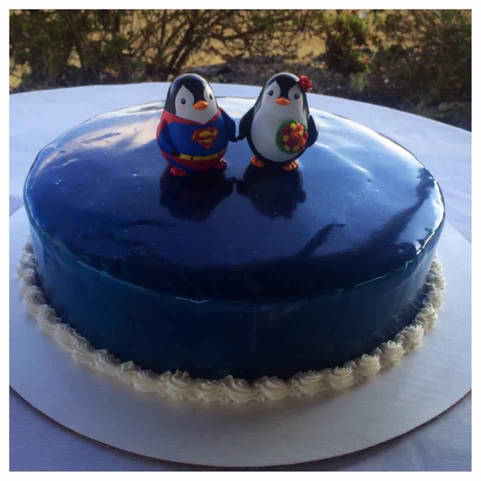 Mirror Glaze Penguin Groom's Cake