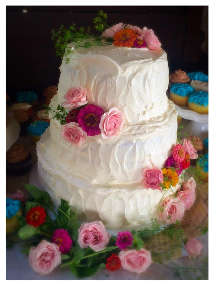 Zinnia and Rose Wedding Cake