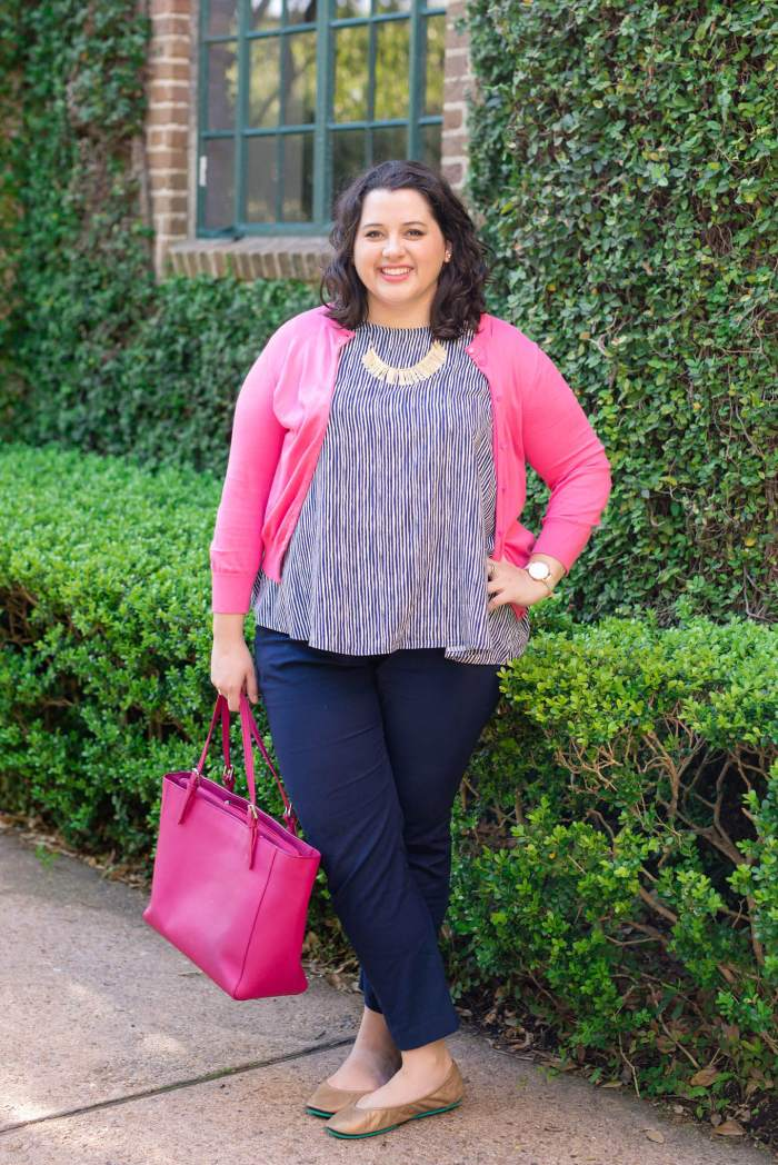 Spring Business Casual - Something Gold, Something Blue fashion blog - Colorful cardigans, navy pants, colorful totes and Tieks ballet flats make for the perfect work outfit