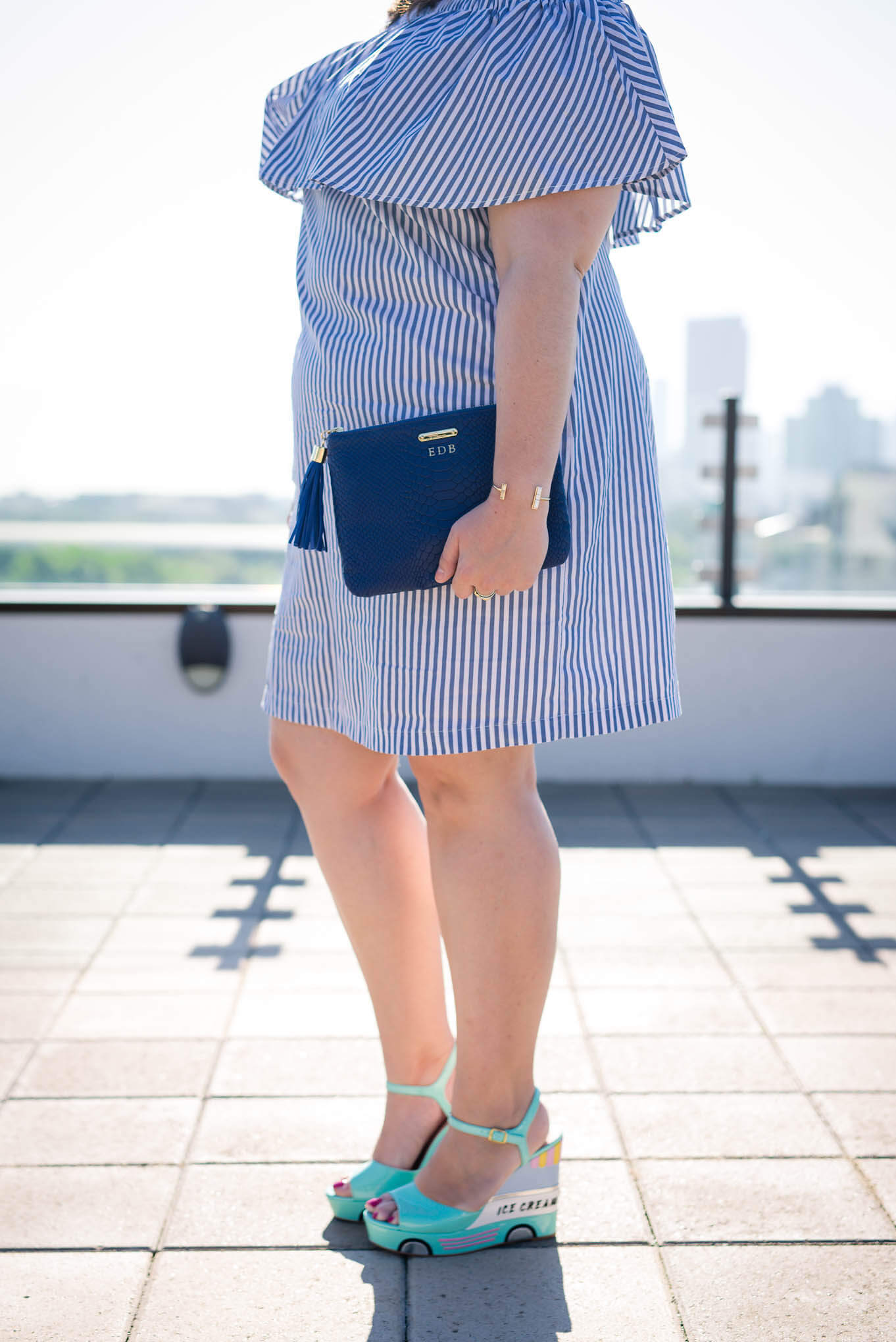Kate Spade Ice Cream Wedges - Something Gold, Something Blue fashion blog - What to wear to a spring brunch, off the shoulder dress, spring dresses, @Eloquii off the shoulder dress, @katespade ice cream truck wedges, @giginewyork uber clutch, @rocksbox bangle