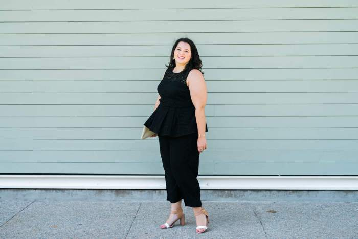 Little Black Jumpsuit | Something Gold, Something Blue Fashion Blog | Curvy Fashion, Plus Size Fashion, Eloquii, Plus Size , Cole Haan, Happy Hour Attire, What to wear to a bachelorette party, Kendra Scott