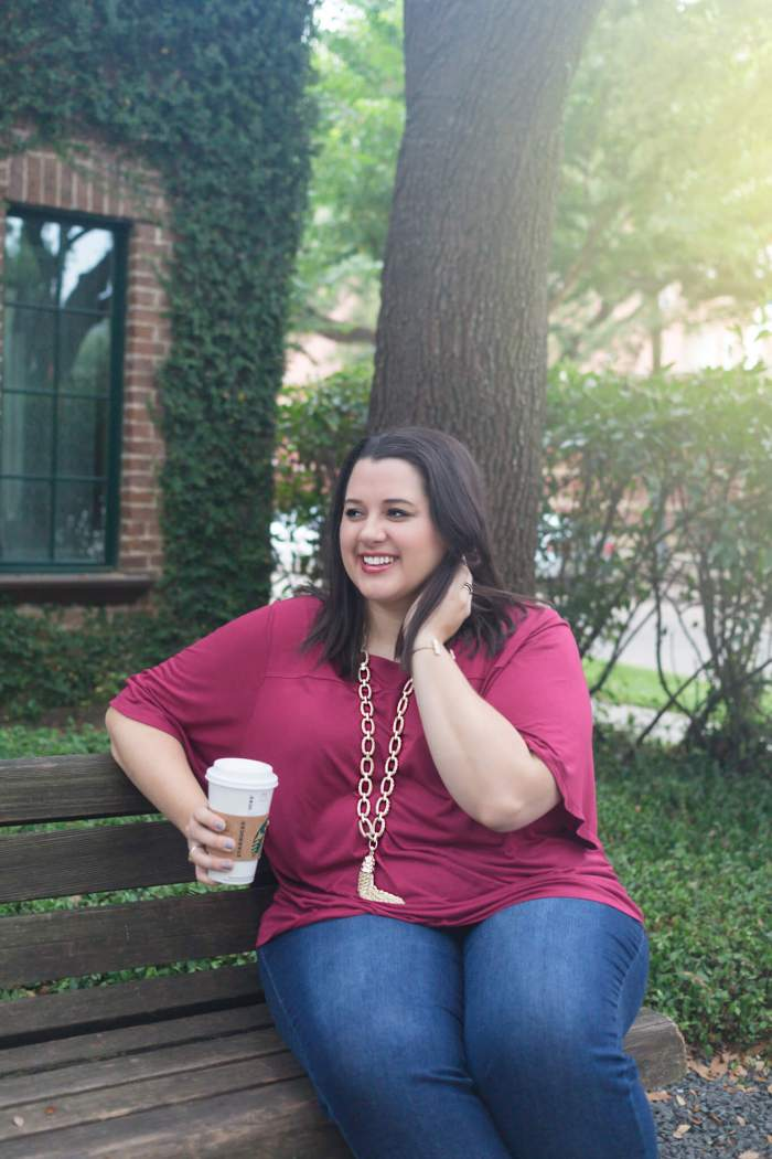 A fringe pair of jeans, a comfortable cotton top and a statement necklace makes for the perfect weekend outfit during this fall transition. This outfit is featured in the latest blog post on Something Gold, Something Blue, a curvy style blog by Emily Bastedo.