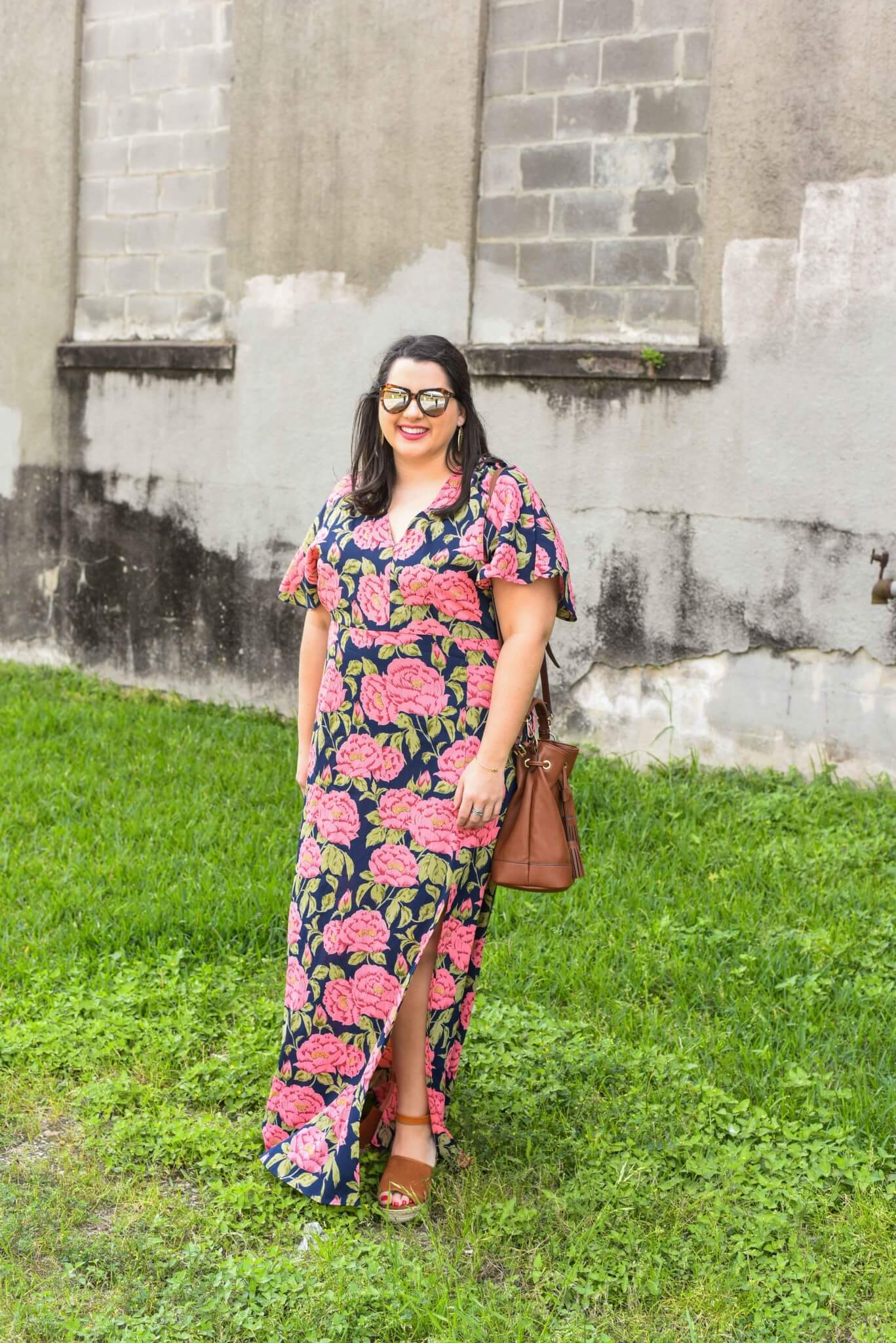 Something gold blue floral print maxi dress