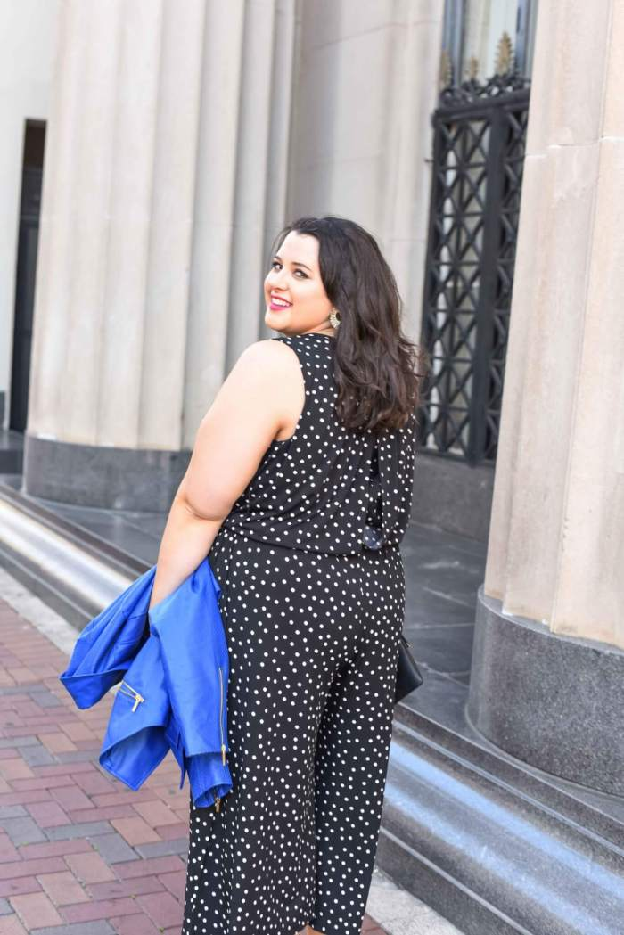 Wearing a jumpsuit as a curvy woman was never something I thought I would be able to pull off, but this black jumpsuit is the perfect spring style staple in my wardrobe. Not only does it look chic, it's also effortless to wear. Curvy style and plus size fashion trends brought to you by Emily from the blog, Something Gold, Something Blue.