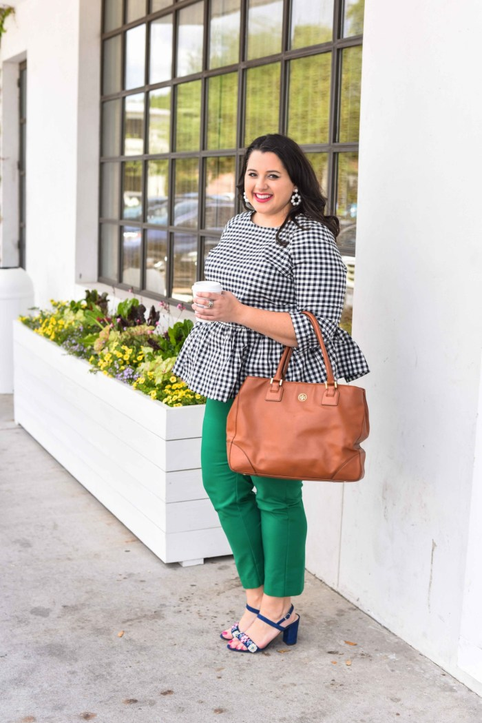 Traveling can be stressful, especially when your flight is delayed or even worse, cancelled. In today's blog post, I'm sharing a few travel delay tips that will help you make the best of the situation. I'm also talking about wearing a quintessential preppy item, a gingham peplum top. Emily Bastedo from the curvy style blog, Something Gold, Something Blue, is sharing how she is styling this gorgeous spring top perfect for both work and happy hour. Plus size, curvy, fashion, style, travel tips. - Travel Delays by popular Houston travel blogger Something Blue, Something Gold