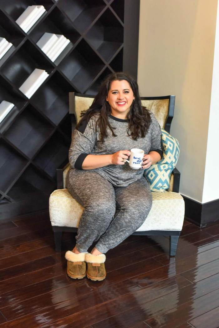 Enjoying a cup of coffee is one of the best ways to unwind on the weekend. Doing so in a great pair of PJs is the icing on the cake. I'm sharing why I love shopping at Kohl's for plus size pajamas. #plussize - Getting a Better Night's Sleep with Kohl's Plus Size Pajamas by popular Houston fashion blogger Something Gold, Something Blue