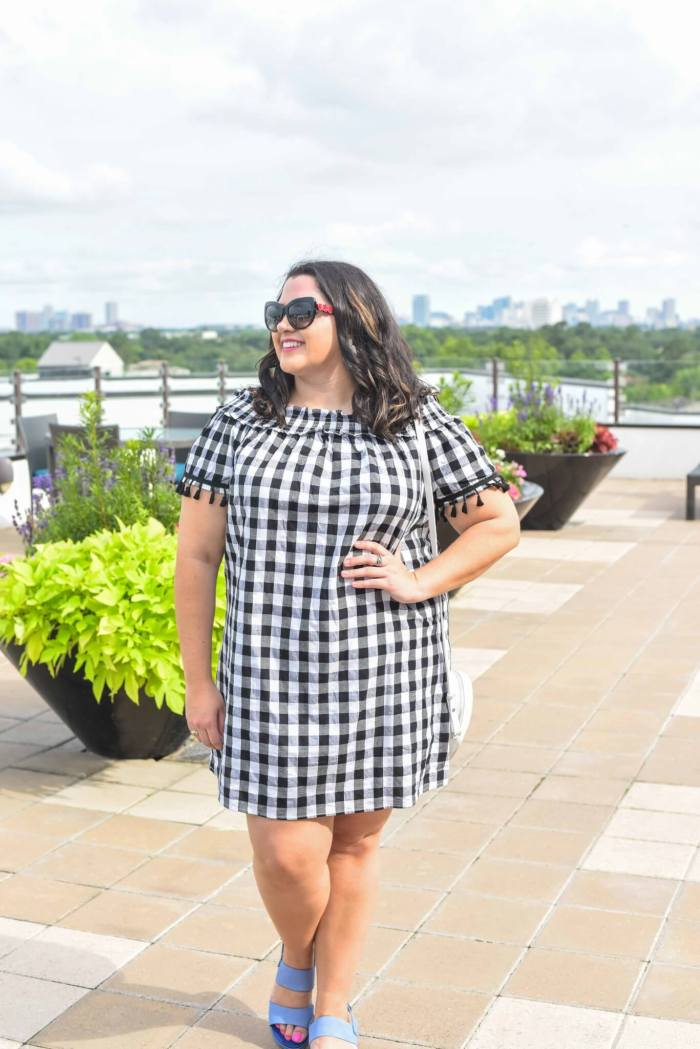 Off the shoulder gingham dress from Simply Be is perfect for any summer outing.