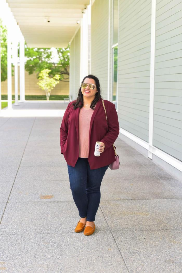 Plus size fall work outfit including Wit & Wisdom jeans