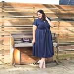 Gal Meet Glam Navy Dress on Plus Size Influencer, Something Gold, Something Blue
