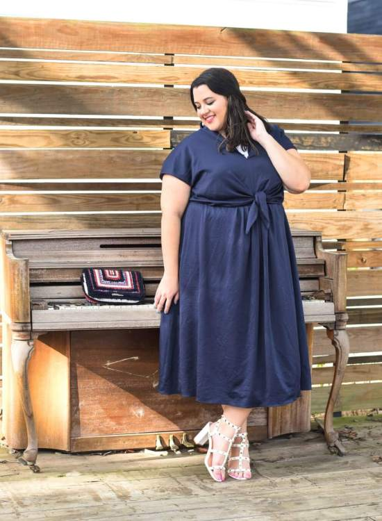 Gal Meet Glam Navy Dress on Plus Size Influencer, Something Gold, Something Blue