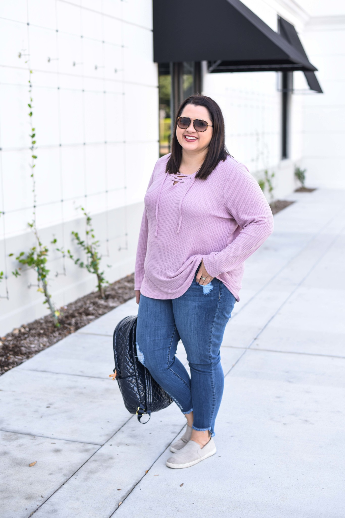 Lace Up Waffle Knit Tee on sale during Lane Bryant's Cyber Week Sale