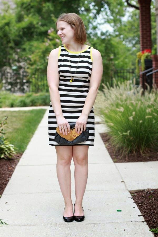 LB(Striped)D   Something Good, piperlime dress, nine west heels, half united necklace