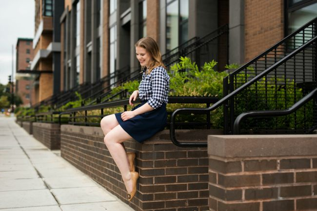 gingham, button down, womens, fashion, style, fall, outfit, j.crew factory, madewell skirt, rockport #dailyadventure