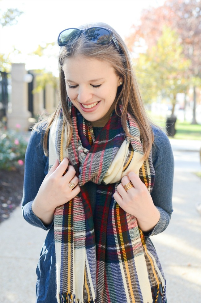The Denim Dress (Part 2) | Something Good, plaid scarf, oversized blanket scarf