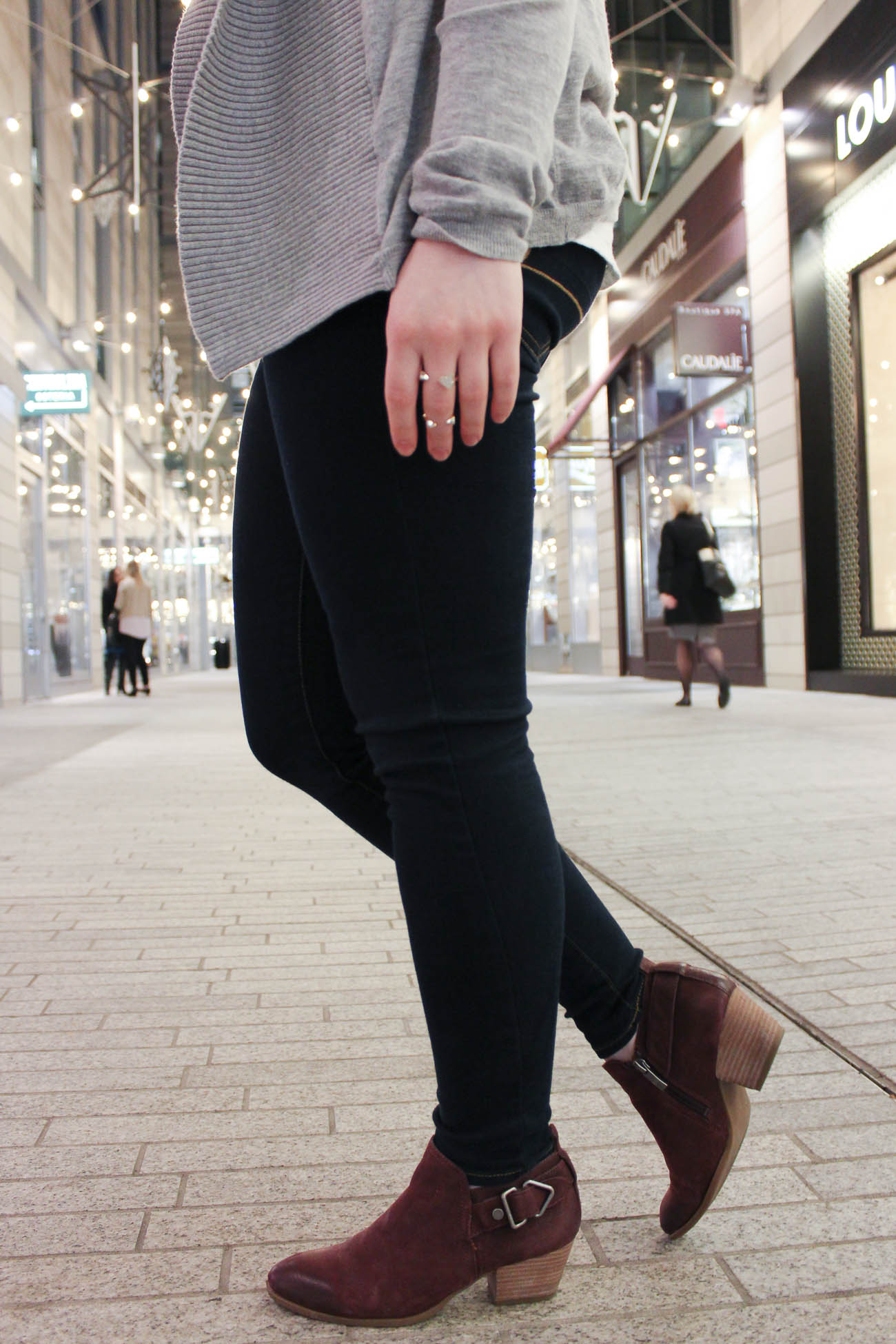 The Lace-Up Tee | Something Good, franco sarto, ankle boots, booties, burgundy ankle boots