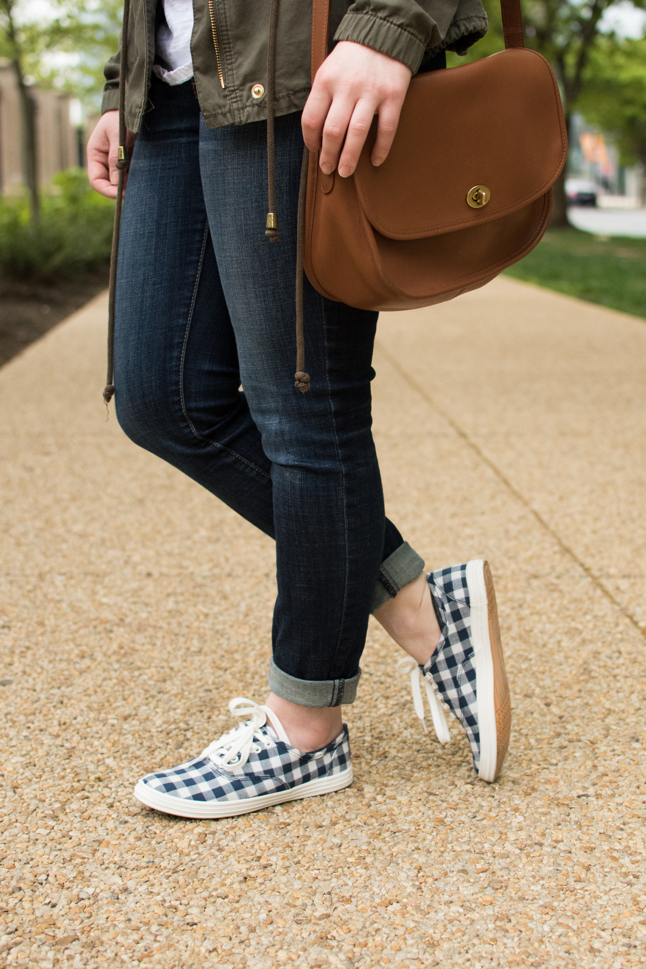The Gingham Tennis Shoes | Something Good, @danaerinw cognac saddle bag, crossbody bag