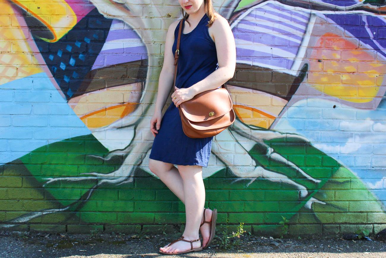 Surviving Summer Heat With A Linen Tank Dress | Something Good, @danaerinw , coganc bag, coach classic purse, brown crossbody bag, blue dress