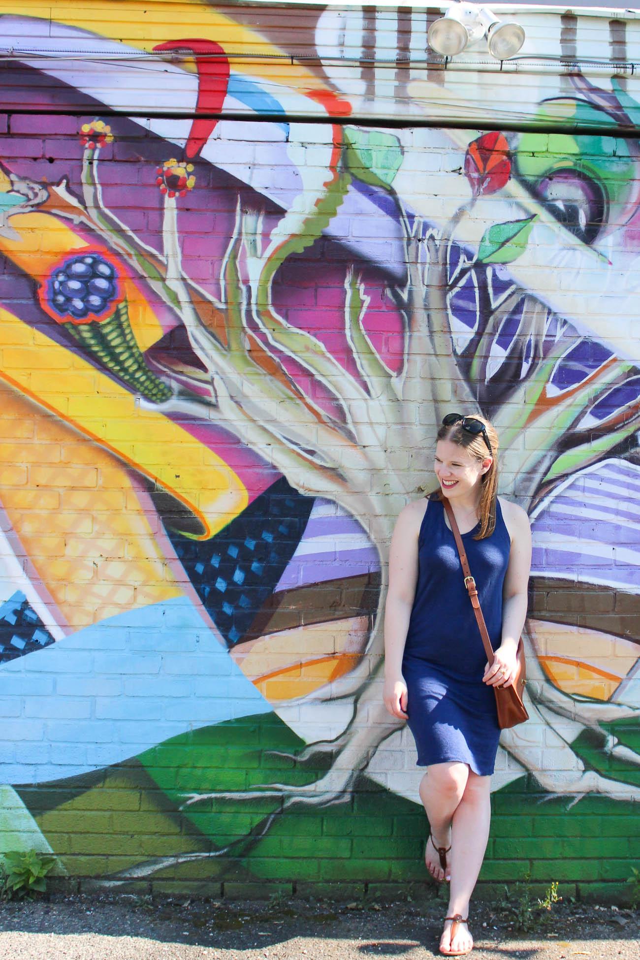 Surviving Summer Heat With A Linen Tank Dress | Something Good, @danaerinw , everlane linen tank dress, navy dress, navy tank dress, linen dress, women's fashion, summer fashion, summer clothing, style, sandals, brown sandals, crossbody bag, mural, cognac bag,