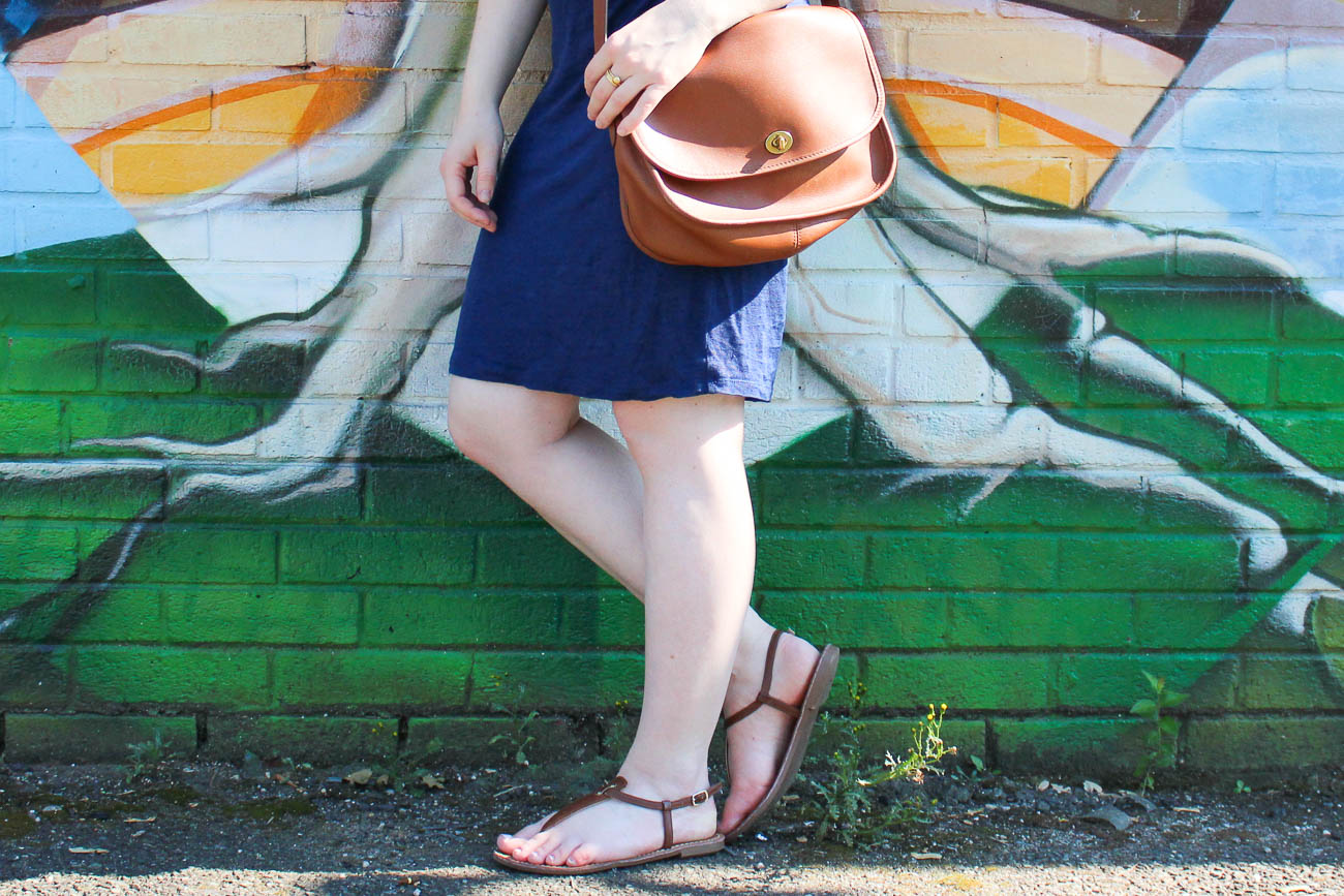 Surviving Summer Heat With A Linen Tank Dress | Something Good, @danaerinw , t strap sandal, cognac sandals, brown sandals, summer fashion