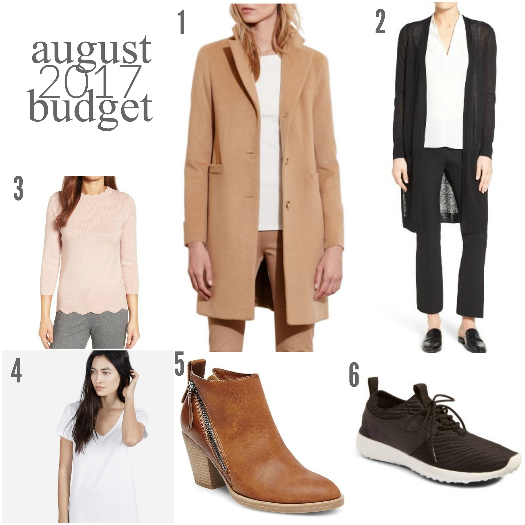"August 2017 Budget | Something Good, @danaerinw, Halogen Scallop Edge Sweater Pink Smoke Halogen® Long Linen Blend Cardigan (Pink Smoke) Lauren Ralph Lauren Wool Blend Reefer Coat Nike Juvenate SE Sneaker Everlane Cotton V (white + pink) "" Women's dv Jameson Double Side Zip Booties - Cognac 6"" Halogen® Long Linen Blend Cardigan (black)"