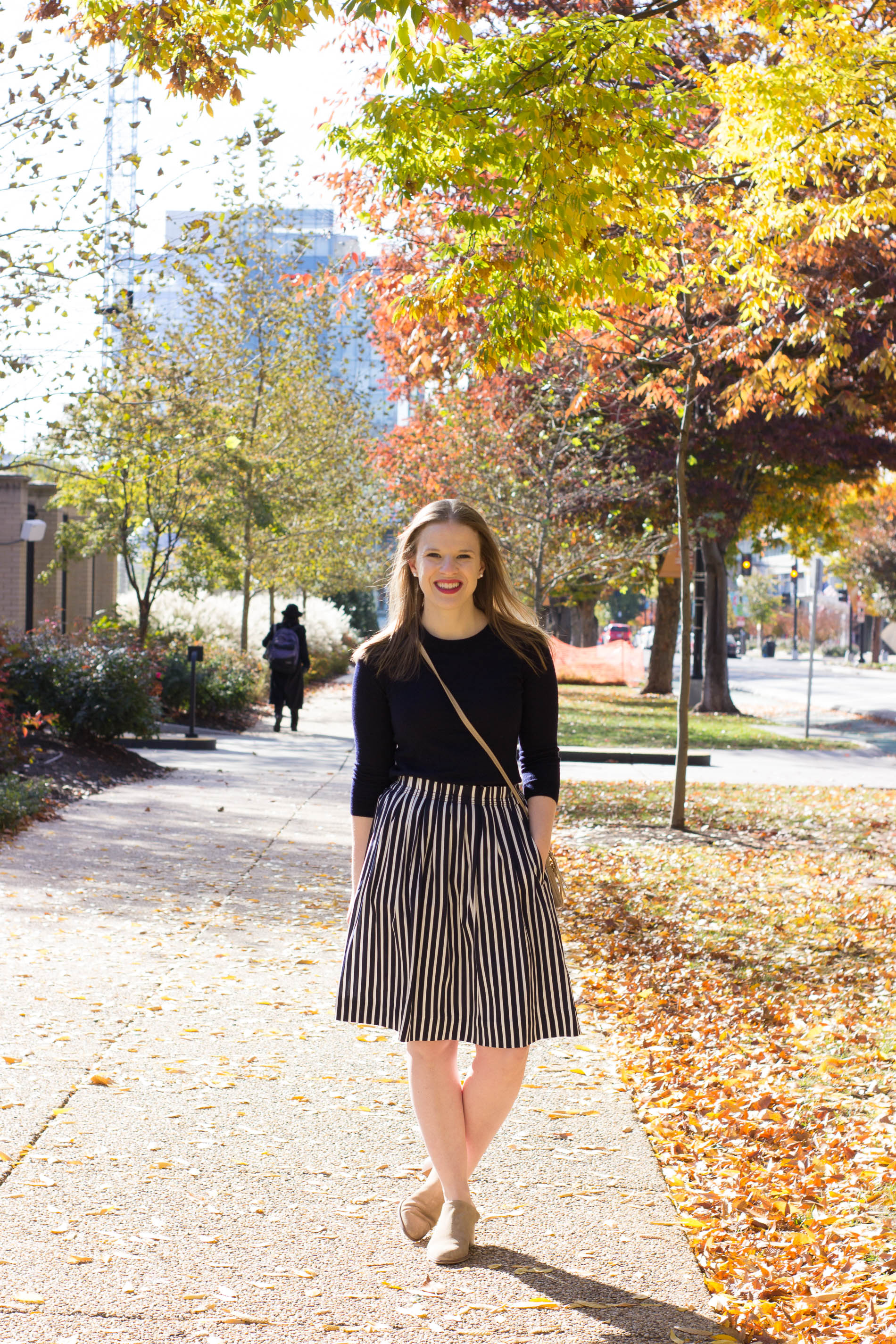 5 Easy Thanksgiving Outfit Ideas | Something Good, @danaerinw , women, fashion, clothing, style, clothes, holiday season, striped midi skirt, navy and white stripes, navy crew neck sweater, j.crew factory, j.crew, crossbody bag, everlane shoes, mules, heeled mules, thanksgiving ideas, fashion