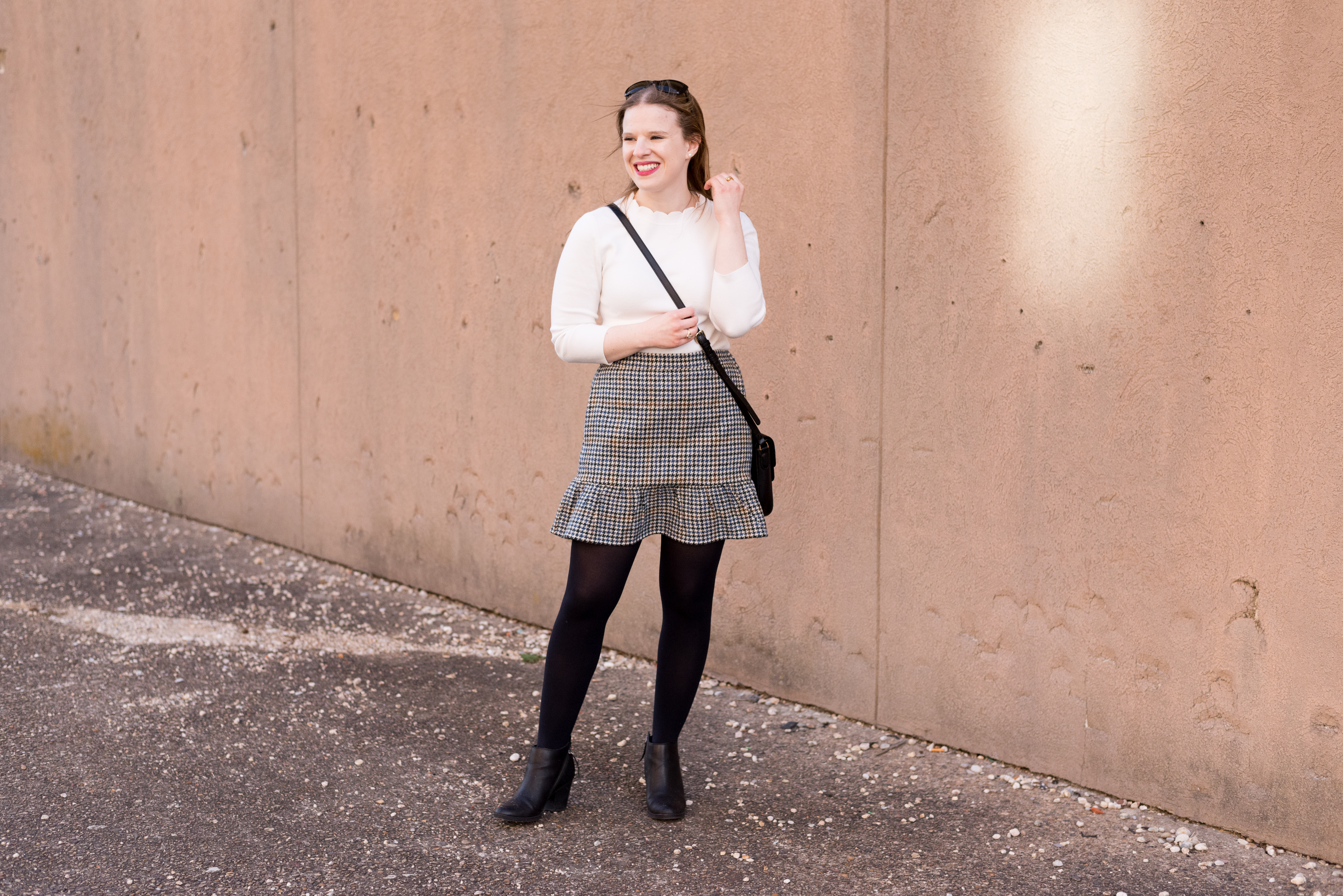 The Perfect Work Outfit for Weird Winter Weather   Something Good, @danaerinw , j.crew ruffle mini skirt, houndstooth skirt, j.crew skirt, women's fashion, clothing, style, ankle boots, white sweater