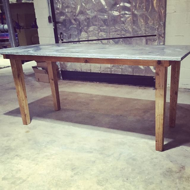 Meet our pub height zinc table making her debut at @oneeightd! We're biased, but we think she's pretty rad.  #industrial #reclaimed #barnwood #salvage #vintagerentals #dc