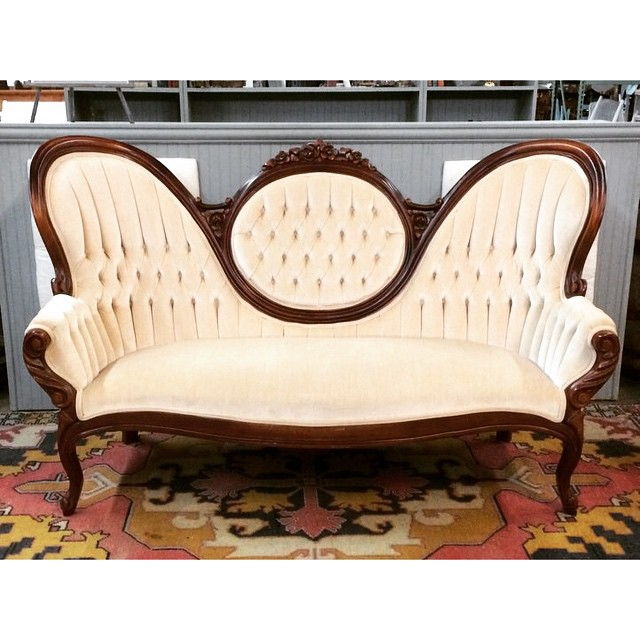 New find!  We Are Pleased to Introduce Amelia, a Velvet Vanilla Victorian Sofa