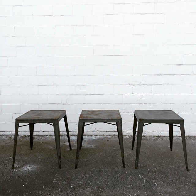 I am so EXCITED to introduce these three industrial square tables. The patina is literally making me giddy!!! I'd love to see these used for drinks or a guest book…or even a sweet heart table! #vintagerentals #industrial #dcevents #furniturerentals #dc #aCreativeDC