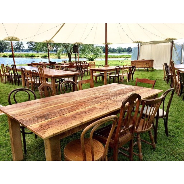 Getting our #reclaimed wood farm tables and #vintage chairs arranged just right for our big wedding with @davidtutera and @gourmetbythebay on the Eastern Shore today! #marylandweddings #easternshore #vintagerentals #weddings #wedding #aCreativeDC #green