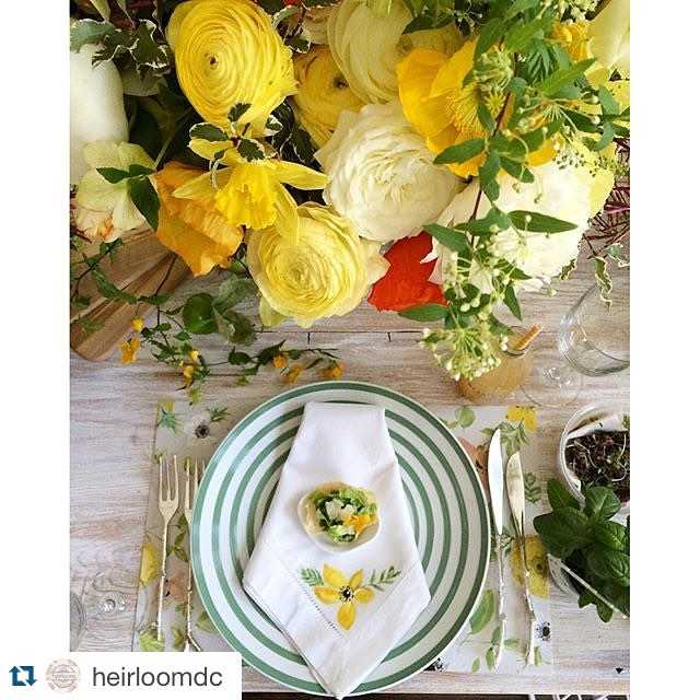 All together obsessed with this #tablescape for #springsocialdc designed by @laurynprattes at @fathomgallery on our reclaimed wood whitewashed farm table. Cheers to the other awesome collaborators for this event @heirloomdc @sweetrootvillage @jrinkjuicery @abbyjiu @lhcalligraphy @healthfullyeverafter @bttrcrmbakeshop @corepoweryoga @melissasproduce ……….#springsocialdc #tablescape #acreativedc #DC #igdc #weddinginspo #vintage #vintagerentals #catering #yellow #style #eventstyling #spring