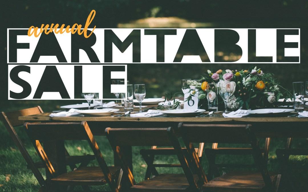 Farm Table Sale at SVR Warehouse!