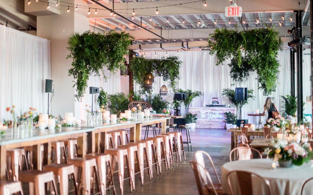 Sam + Jesse SNEAK PEEK    Industrial Meets Tropical Disco @ Dock 5 Wedding