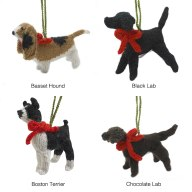 Hand knit dog ornaments from Uncommon Goods.
