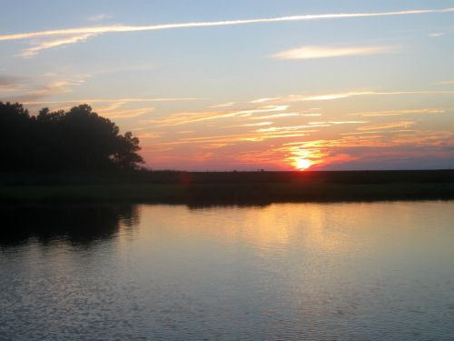 Sunset at Janes Island State Park.