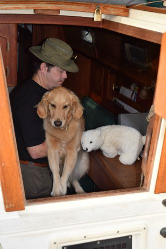 Man lifting golden retriever out of boat companionway.