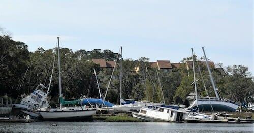 Wrecked boats in Hilton Head, South Carolina.