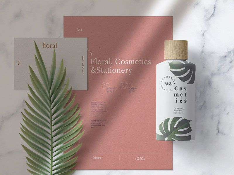 Fern Stationery Mockup Scene