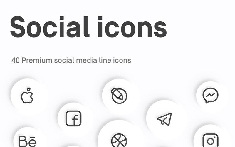 40 Social Media Line Icons