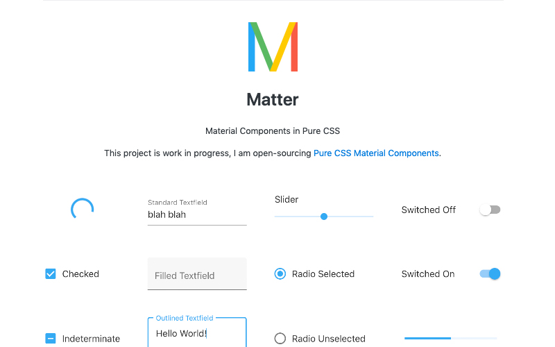 Matter Material Components In Pure Css