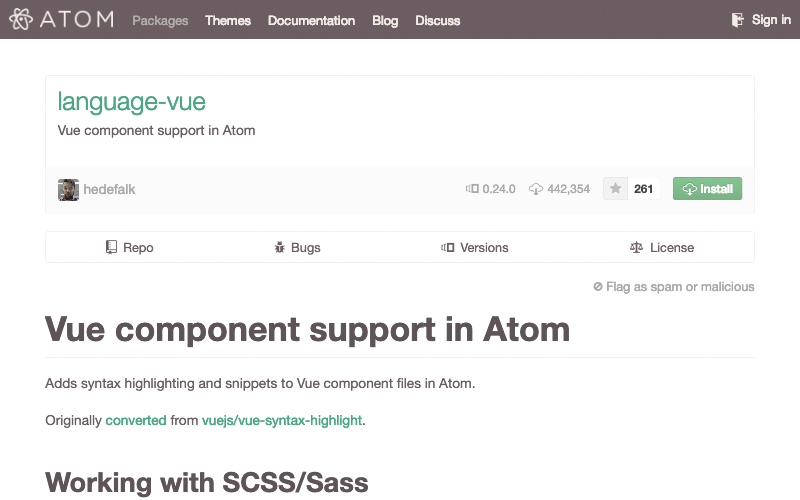 Vue.js Package For Atom