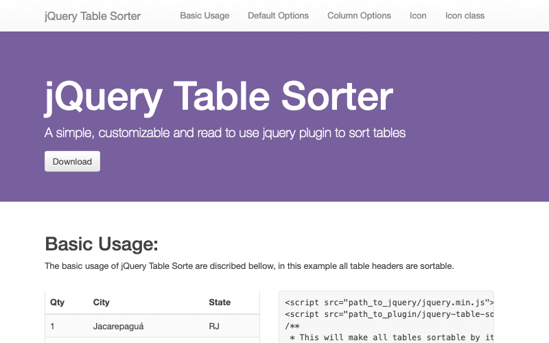 Jquery Table Sorter