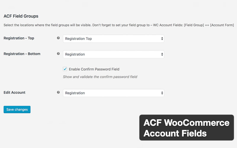 Acf Woocommerce Account Fields