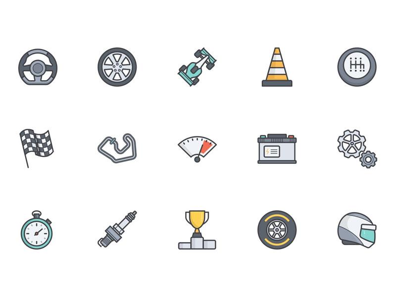 Automotive & Racing Vector Icons