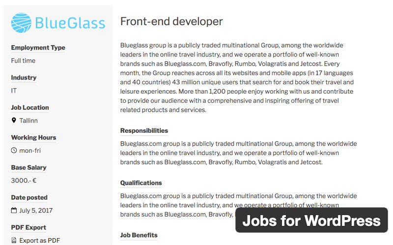 Jobs For WordPress