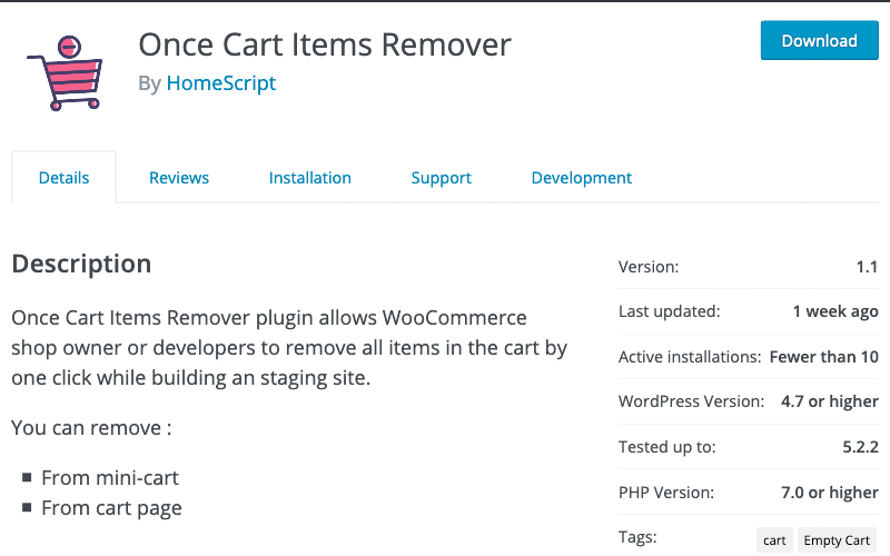 Once Cart Items Remover
