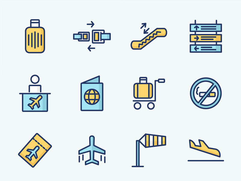 Colored Airport Vector Icons