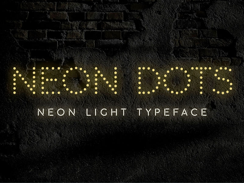 Neon Dots Is A Free Neon Sign Font