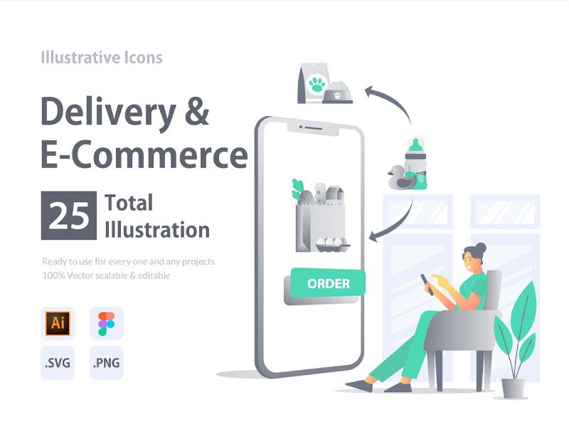 Delivery & E Commerce Illustrative Icons