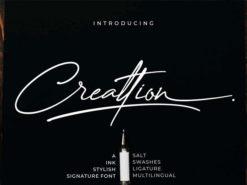 Creattion Free Signature Script Font